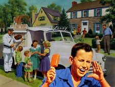 VINTAGE ICE CREAM TRUCK MAN CREAMSICLE CHILDREN NOSTALGIA CANVAS ART PRINT