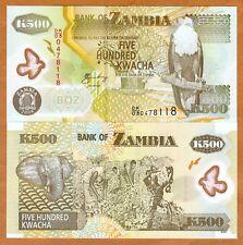 Zambia, 500 Kwacha, POLYMER, 2008, Pick 43f, UNC