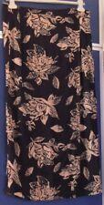 EUC Pretty  LONG Wrap SKIRT by COTTON ZONE Black & Brown Sz M INDIA Made