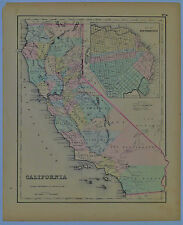 1855 Genuine Antique map of California. San Francisco. Hand colored. Colton