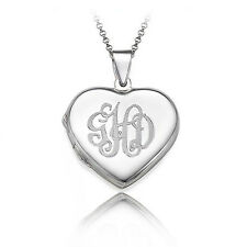 Monogrammed Sterling Silver Heart Locket Necklace - Personalized (USA Seller)