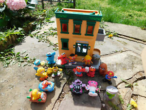 Lot Sesame Street 123 Mr. Hooper's Store Play Set House w 14 Figures & 2 cars