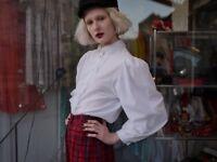 Bluse Rüschen Spitze bestickt weiß Puffärmel 90er TRUE VINTAGE 90´s blouse lace