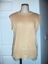 Vintage Perry Ellis America Golden Tan Ramie Cotton Knit Sleeveless Sweater - M