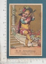 8849 G. K. Armstrong grocer advertising trade card lute player Wakefield, RI
