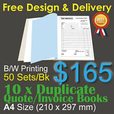 10 X A4 Customised Printed Duplicate Quote / Tax Invoice Books Design&post