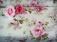 Stoff Stoffcoupon Dekostoff creme  Rosenstoff große englische Rosen 50 x 140cm