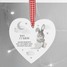 Personalised Baby Bunny Wooden Heart Decoration, Nursery, Newborn Keepsake Gift