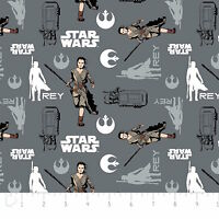 Star Wars The Force Awakens Rey Iron Grey Camelot 100% cotton Fabric by the yard