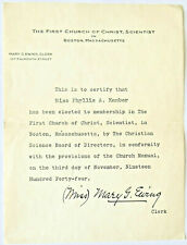 1946 Membership FIRST CHURCH OF CHRIST, SCIENTIST Boston MARY G. EWING SIGNED