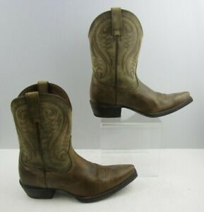 Ladies Ariat Brown-Green Leather Western Cowgirl Boots Size: 7 B