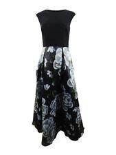 SL Fashions Women's Cap-Sleeve Printed Organza Gown