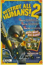 DESTROY ALL HUMANS! 2  PlayStation PS2 / Xbox  video game print ad page