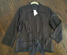 NWT SAKS LAFAYETTE 148 BLACK BUTTER LEATHER SHIRT FITTED WRAP FRONT 8 -Ret $598!