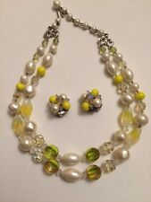 LAGUNA Gorgeous Faux Pearl & Bead Choker/Necklace & Clip On Earrings Demi Parure
