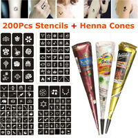 Henna Tattoo Gift Set , Mehndi Kit , Paste Cone w/ 200Pc Tattoo Glitter Stencils