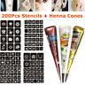Henna Tattoo Gift Set , Mehndi Kit , Paste Cone w/ 200Pc Tattoo Glitter Stencils