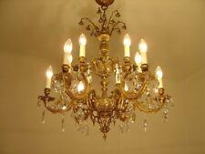 CHANDELIER BRASS CRYSTAL OLD CEILING LAMP 12 LIGHTS LUSTRE LIVING ROOM