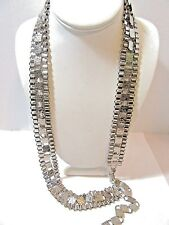 FANCY BOOKCHAIN STYLE CHROME SILVER TONE METAL BELT OR NECKLACE TRENDY VINTAGE