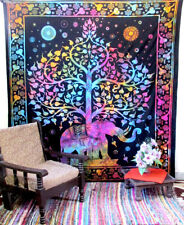 New Queen Tie & Dye Elephant Tree Tapestry Room Decorative Wall Hanging Throw