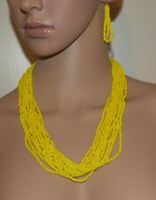 3 Pc. Yellow  Seed Bead Boho Style Necklace And Earring Set