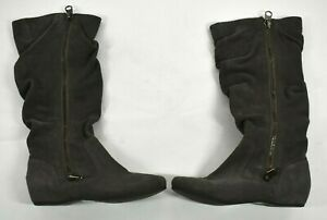 Bakers Womens Gray Suede Feel Knee Zip Sides Leather Upper Casual Boots 6½