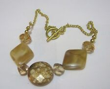 plastic beads approx 38 cm long Pretty gold tone metal chain necklace marbled