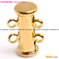 5 PCS Tube Yellow Gold-plated Jewelry Making Clasps, 2 Strings Clasp 5x15mm