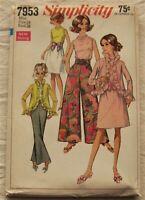 Vintage Jacket Pants Sewing Pattern*Simplicity 7953*Size 16*UNCUT/FF*Palazzo*60s