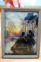 Vintage 1930s Silhouette Sweethearts Painted Glass Framed Art Woods Love Couple