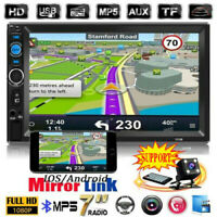"""7"""" Double 2DIN Car Stereo Radio MP5 Player Bluetooth Touch Screen USB AUX+Camera"""