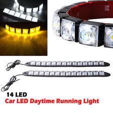 2x Car 14 LED Amber/White Switchback Strip Arrow Flasher Turn Signal Light Lamp