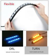 2x Car 6 LED Amber/Ice Blue Switchback Flowing Strip Arrow DRL Turn Signal Light