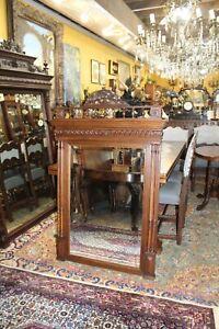 French Antique Carved Oak Renaissance Beveled Mirror