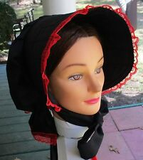 Civil War Dress Victorian Accessory Ladys Black Cotton Slat~Sun Bonnet-Red Lace