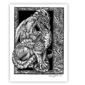 © ART -  Dragon illustration Fantasy Drawing - Artist Print By Di