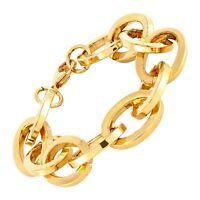 Italian-Made Statement Link Chain Bracelet in 18K Gold-Plated Bronze, 8""