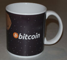 NEW 'BITCOIN' COFFEE MUG/CUP! GREAT GRAPHICS! BITCOIN RIDING ROCKET INTO SPACE!