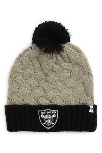 Oakland Raiders NFL Knit Pom Beanie (Grey/Black) Women's OSFA Raiders Winter Cap