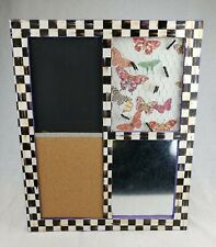 Rare Mackenzie Child Message Board Courtly Check Chalk Cork Magnet Board & Clips