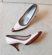 Vintage Brown White Leather Wingtip Spectator Shoes Pump Heels ~Mr.Easton~8 Aa