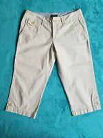 Eddie Bauer petite Sz 6 women's beige cotton capri pants pockets belt loops.