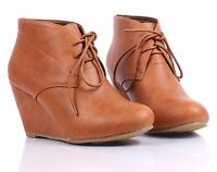 Tan New Faux Leather Lace Up Womens Wedge Heels Ankle Boots Shoes Size 6