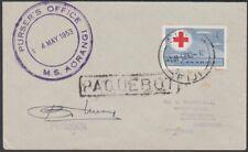 FIJI 1953 cover CANADA 5c - Suva Paquebot & MS Aorangi ship cachet etc......R561