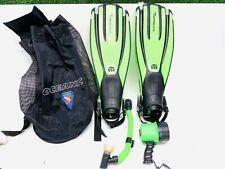 Mares Avanti Quattro Scuba Diving Snorkel Fins Sz Regular W Snorkel Light Bag