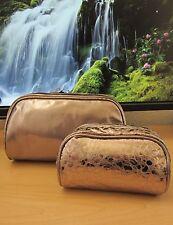 2pc Lancome Metallic Gunmetal Cosmetic Bag with purse