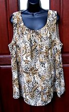 Maggie Barnes sleeveless blouse 1X 18-20 NWOT animal print polyester gorgeous~