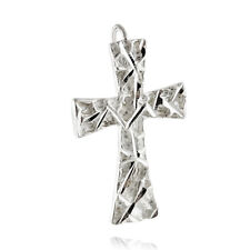 Cross Pendant - 925 Sterling Silver - Diamond Cut Nugget Design Faith Religious