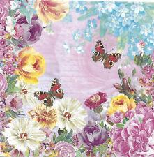 Lot de 4 Serviettes en papier Papillons Fleurs Decoupage Collage Decopatch