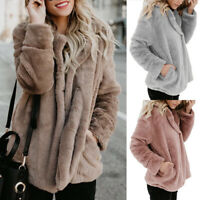 Women's Casual Teddy Bear Coat Cardigan Ladies Fleece Fur Fluffy Jacket Tops